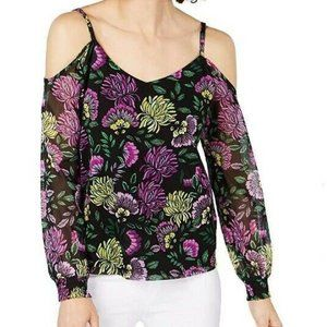 INC XL Black Purple Decorative Top NWT BK77